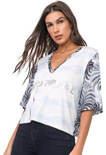 Camiseta Lança Perfume Estampada Off-White/Cinza