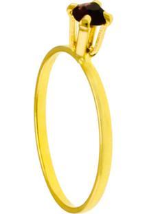 Anel Horus Import Solitário Strass Violeta Banhado Ouro Amarelo 18K 1010054 - Kanui