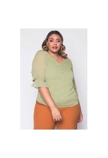 Blusa Almaria Plus Size New Umbi Com Transparência Verde