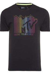 Camiseta Masculina Mtv Led - Preto