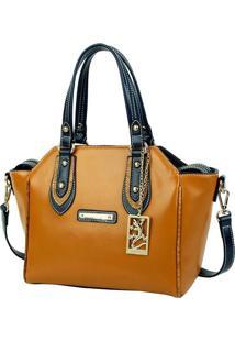 Bolsa De Mão Bag Charm - Marrom & Azul Marinho - 24Xfellipe Krein