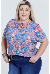 9e3b0e9a57 ... Blusa Feminina Plus Size Estampa Floral Marisa