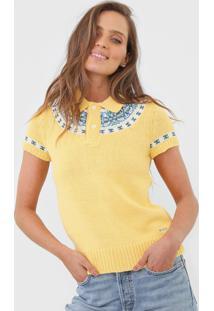 Camisa Polo Polo Ralph Lauren Reta Estampada Amarela - Kanui