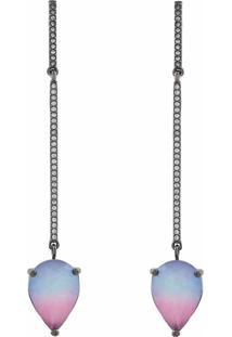 Brinco Narcizza Semijoias Palito Em Zircônia Cristal E Gota Multicollors - Rainbow Azul E Lilás Ródio Negro