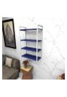 Estante Estilo Industrial Sala Aço Cor Branco 60X30X98Cm (C)X(L)X(A) Cor Mdf Azul Modelo Ind48Azsl