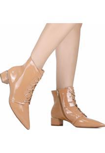 Bota Ankle Boot Zariff Verniz Nude
