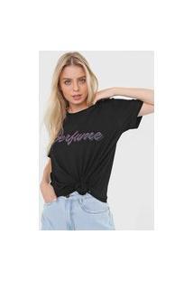 Camiseta Lança Perfume Aplicação Logo Preta