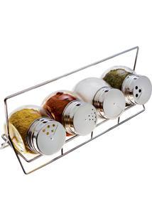 Porta-Condimentos Com Suporte E Dosador 4 Peças - Euro Home Transparente