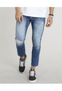 Calça Jeans Masculina Slim Cropped Com Rasgos Azul Escuro