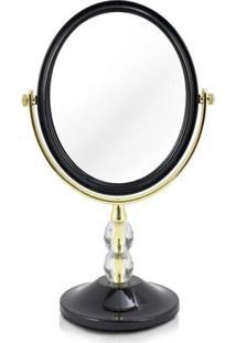 Espelho Jacki Design De Bancada Dupla Face Det De Cristais Preto Unico