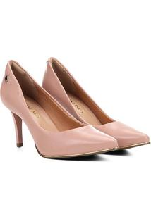 Scarpin Via Uno Salto Alto Bico Fino Detalhe Metalizado - Feminino-Rosa