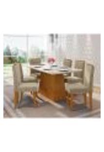 Conjunto De Mesa De Jantar Com Tampo De Vidro Bárbara E 6 Cadeiras Amanda Ii Animalle Off White E Cinza