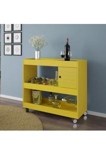 Aparador 1 Porta Cristal Amarelo - Bechara Móveis