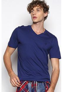Camiseta Cavalera Básica Gola V Masculina - Masculino-Marinho