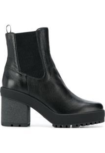 Hogan Ankle Boot Com Salto Bloco - Preto