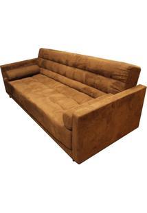 Sofa Cama Bit Com 3 Lugares Assento Veludo Marrom Base Madeira - 56012 Sun House