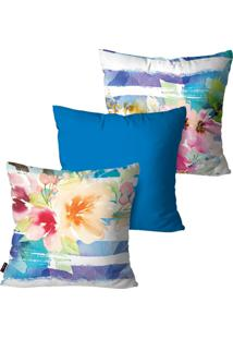 Kit Com 3 Capas Para Almofadas Pump Up Decorativas Azul Flores Aquarela 45X45Cm