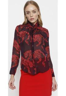 3c2721da3b ... Camisa Em Seda Arabescos - Roxa   Bordôversace Collection