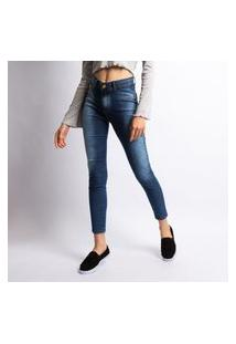 Calça Skinny Jeans Feminina Lavagem Escura Bolso Falso Preto