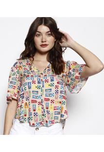 Camisa Praia Com Amarração- Bege & Amarela- Zincomorena Rosa