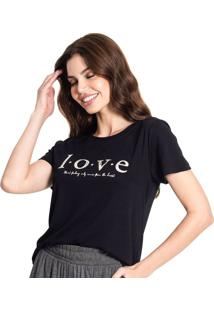 Blusa Feminina Rovitex Love Preto - P