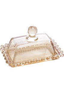 Manteigueira Cristal Pearl Âmbar 14X9X8Cm