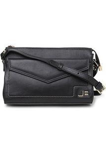 Bolsa Couro Jorge Bischoff Mini Bag Envelope Feminina - Feminino-Preto