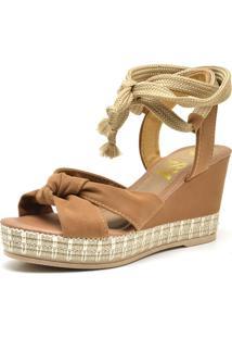 Sandália Anabela Ousy Shoes Corda Confort Feminina Bege - Tricae