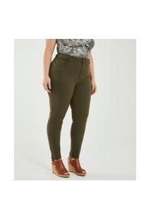 Calça Skinny Lisa Em Sarja Curve & Plus Size   Ashua Curve E Plus Size   Verde   54