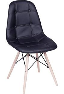 Cadeira Eames Botonê- Preta & Madeira Clara- 83X44X4Or Design