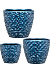 Kit Cachepot 3Pçs Desenhado Cerâmica Azul Mart Collection