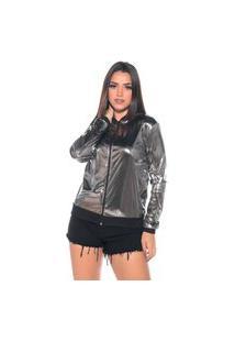 Jaqueta Bomber M&A Modas Metalizada Prata