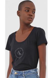 Camiseta Calvin Klein Jeans Logo Preta - Preto - Feminino - Algodã£O - Dafiti