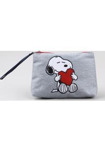 Nécessaire Feminina Snoopy Cinza Mescla