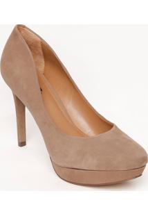 Sapato Meia Pata De Couro- Marrom- Salto: 10,5Cmarezzo & Co.