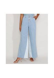 Calça Jeans Feminina Pantalona Wide Cintura Super Alta Com Botões E Recorte Azul Claro