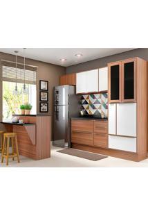 Cozinha Compacta Com Tampo 8 Peças 5463R Calábria - Multimóveis - Nogueira / Branco