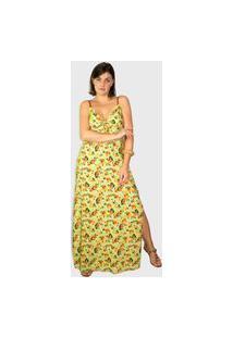 Vestido Modisch Longo Laço Botanical Retrô