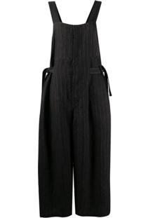 Uma Wang Macacão Pantalona De Linho Com Listras - Preto