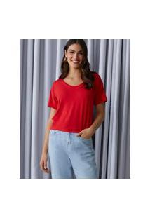 Amaro Feminino T-Shirt Básica U, Vermelho
