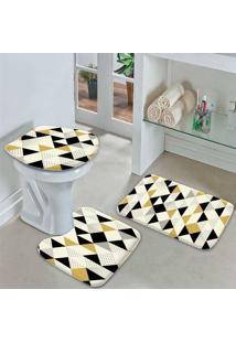 Jogo Tapetes Para Banheiro Multi Triângulos Amarelo