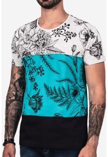 Camiseta Recorte Turquesa Floral 101973