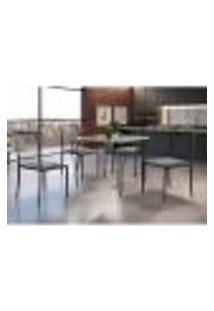 Conjunto De Mesa De Jantar Grécia Com Tampo De Vidro Mocaccino E 4 Cadeiras Atos Linho Cinza E Grafite