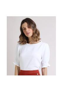 Blusa Feminina Manga Bufante Decote Redondo Off White