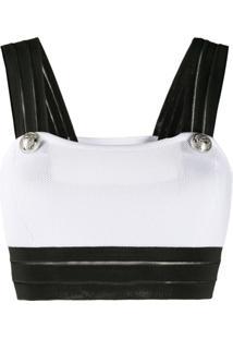 Balmain Blusa Cropped Com Detalhe De Tela - Branco