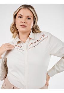 Camisa Feminina Plus Size Bege Com Bordado Floral Nailde
