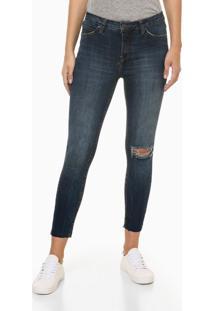 Calça Jeans Feminina Skinny Destroyed Cintura Alta Azul Marinho Calvin Klein Jeans - 34