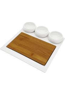 Conjunto 3 Petisqueiras De Porcelana C/Tábua Bambu Lanark 27X5Cm