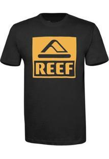 Camiseta Reef Masculina Básica Corporate - Masculino-Preto+Dourado