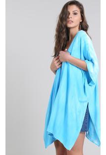Kimono Feminino Com Vazado Azul